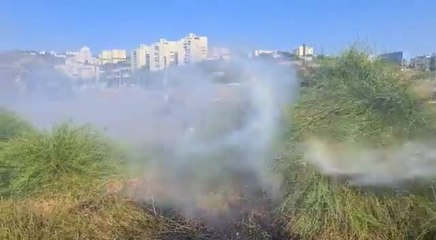 Firefighter attempting to extinguish the fire in Karmei Tzur (Fire and Rescue Services)
