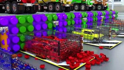 Car Vehicles Parking Game _ LEGO Blocks Concrete Mixer Trucks _ Street Vehicles Games 3D Gameplay