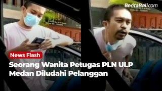 Seorang Wanita Petugas PLN ULP Medan Diludahi Pelanggan