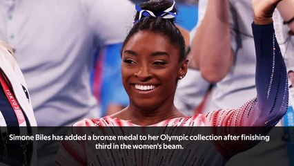 Biles bounces back to win beam bronze
