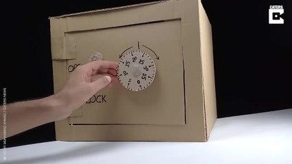 Bastelidee mit Köpfchen: Ein funktionierender Safe aus Pappe