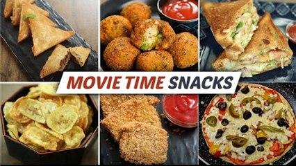 Delicious Movie Night Time Snacks Recipes   Cheese Balls   Pizza   Cheese Sandwich   Keema Samosa