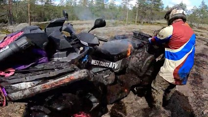 Riders Race To Rescue An ATV On Fire