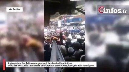 Afghanistan, les Talibans organisent des funérailles fictives avec des cercueils recouverts de drapeaux américains, français et britanniques