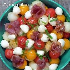 Salade de billes melon, pastèque et mozzarella