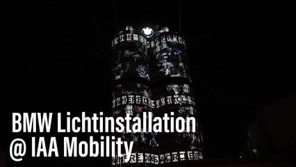 IAA Mobility 2021: Lichtinszenierung projiziert wegweisende Botschaften auf die BMW Zentrale