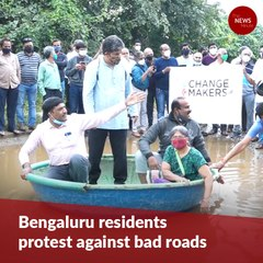 To protest bad roads, Bengaluru residents plant paddy in rain-filled potholes