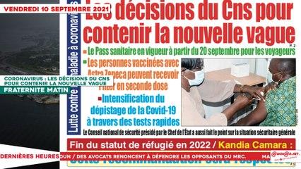 Le Titrologue du 10 Septembre 2021 : Coronavirus, les décisions du CNS pour contenir la nouvelle vague