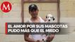 Joven rescata a sus mascotas tras la inundación en Tula