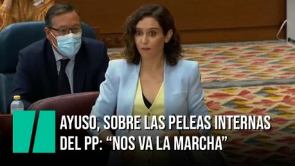 """Ayuso, sobre las peleas internas del PP: """"Nos va la marcha"""""""