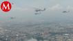 Por desfile militar, helicópteros de Fuerza Aérea sobrevuelan CdMx