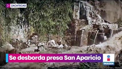 Desborde de la presa San Aparicio causa inundaciones en Zacatecas