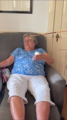Old Woman Unknowingly Smears Whipped Cream on her Face When Man Pranks Her