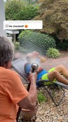 Woman Sprays Son-in-Law With Water While he Sleeps in the Yard