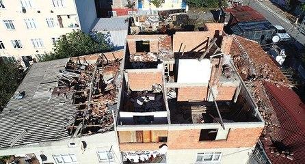 Fırtına çatıları uçurdu, hasar havadan görüntülendi