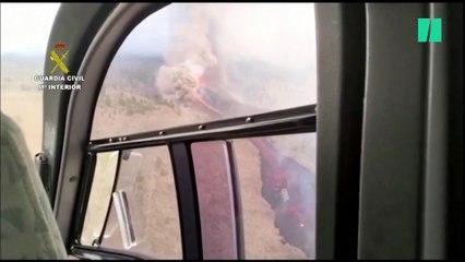 La erupción del volcán de La Palma, vista desde un helicóptero