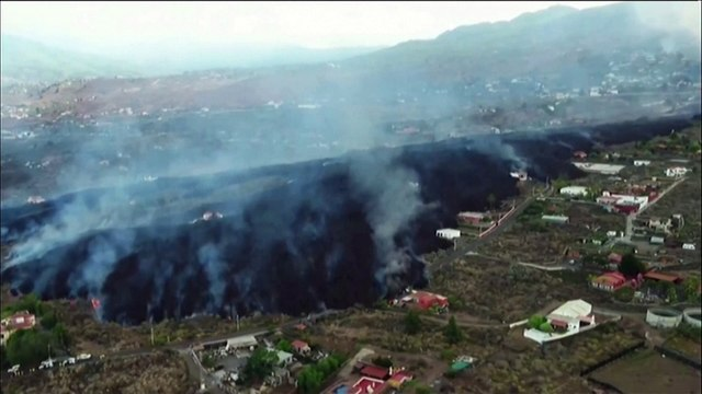 Drone footage shows torrents of lava on Spain's La Palma