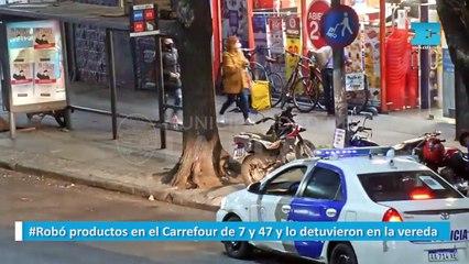 Robó productos en el Carrefour de 7 y 47 y lo detuvieron en la vereda