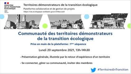 Prise en main de la plateforme des territoires démonstrateurs de la transition écologique : 1ère séquence