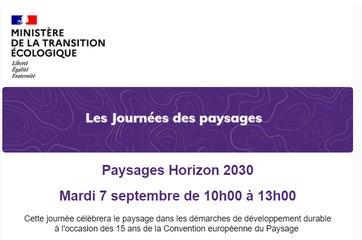Journée des paysages du 7 septembre 2021 - Paysages horizon 2030
