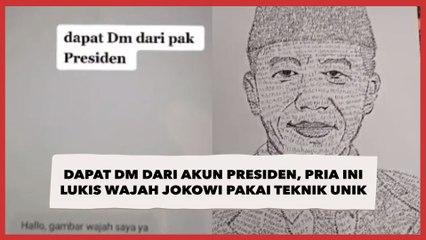 Dapat DM dari Akun Presiden, Pria Ini Lukis Wajah Jokowi Pakai Teknik Unik, Hasilnya Mirip