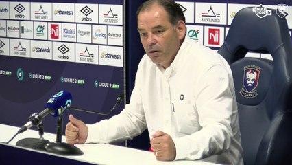 J9 Ligue 2 BKT : Les réactions de S.Moulin et F.Wadja après SMCaen 0-1 Dijon FCO