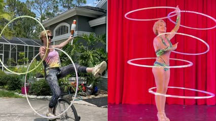 'Extremely talented hula hoop artist puts her multitasking skills to the test'