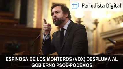 ¡Brutal! Espinosa de los Monteros (VOX) despluma al Gobierno PSOE-Podemos