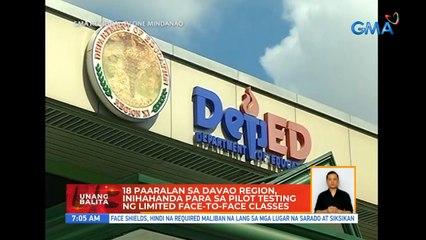 18 paaralan sa Davao Region, inihahanda para sa pilot testing ng limited face-to-face classes | UB