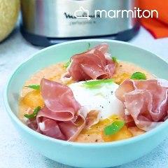 Soupe de melon, burrata et jambon de Parme
