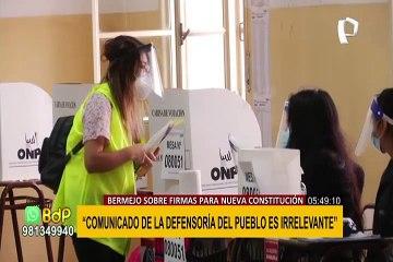 """Bermejo calificó de """"irrelevante"""" comunicado de la Defensoría sobre firmas para nueva Constitución"""