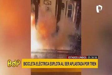 EEUU: bicicleta eléctrica explota al ser aplastada por tren