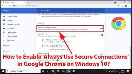 How to Enable 'Always Use Secure Connections' in Google Chrome on Windows 10?