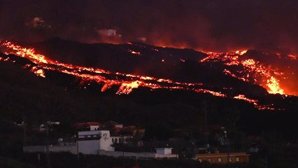 Buildings engulfed by lava as La Palma volcano eruption continues
