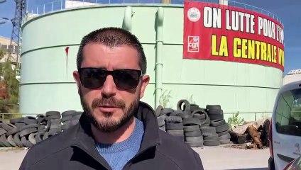 Nicolas Casoni co-secrétaire général du syndicat prend la parole pour expliquer les raisons du conflit à la centrale de Gardanne