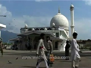 Pigeons fly over the Jama Mosque in Srinagar