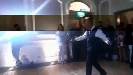 Wedding couple enjoy first dance