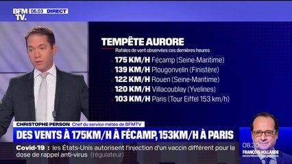 Tempête Aurore: des vents ont atteint 175 km/h à Fécamp, en Seine-Maritime