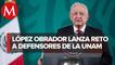 AMLO reta a ofendidos por críticas sobre la UNAM a marchar