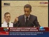 Video Discours Sarkozy au parlement israelien - sioniste, kh