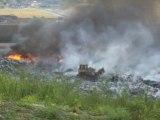 Incendie dans une décharge à Evin-Malmaison