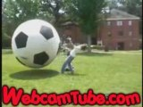 Idiot Thinks he Can Take a Giant Ball to the Face