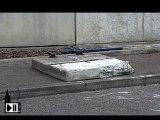 Chute d'un bloc de beton
