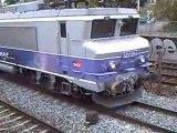 BB 7400 nez cassé+2 trains TER qui klaxonnent+1 train TGV à Lyon le 30/09/08