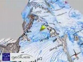 Vue ign 3D, prépa course des 3 monts du Mont Blanc