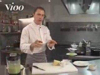 Sole à la Rhubarbe avec Risotto et purée de fève