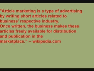article Marketing — 500+ online marketing tools and methods