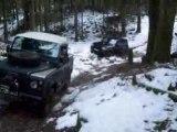 Patrol plantage sur neige tiré par un land 90
