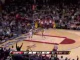 NBA Mo Williams steals the pass...LeBron James finishes with
