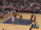 NBA Dwyane Wade rejects Joe Johnson's slam dunk attempt.